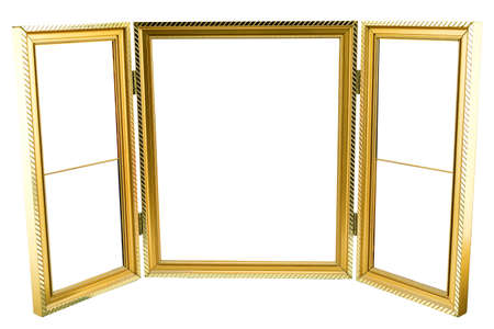 gold picture frame: Metal gold picture frame for wedding or family photography isolated on white.