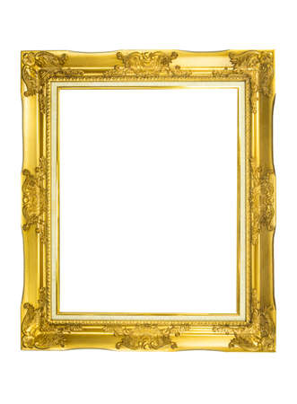 gold picture frame: Wood gold picture frame for wedding or family photography isolated on white.