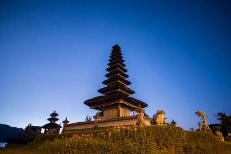 ulun: Pura Ulun Danu Bratan Water Temple at sunrise Bali ,Indonesia.
