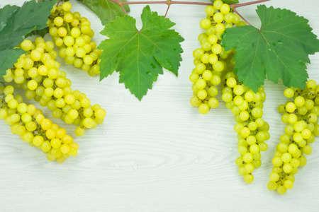 uvas: Uvas verdes frescas en el piso de madera.