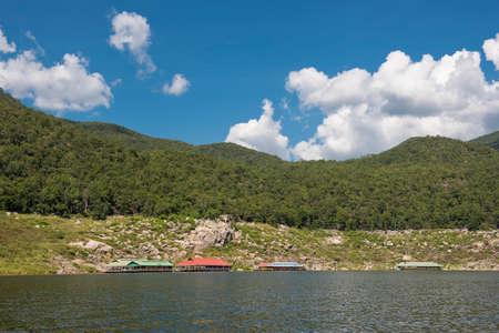 bhumibol: Floating house in the lake Bhumibol Dam Tak ,Thailand.