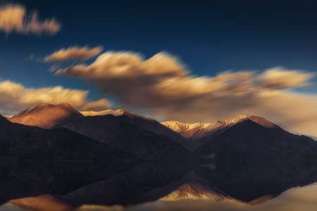 Long exposure and reflect of Pangong Lake Leh Ladakh ,India.