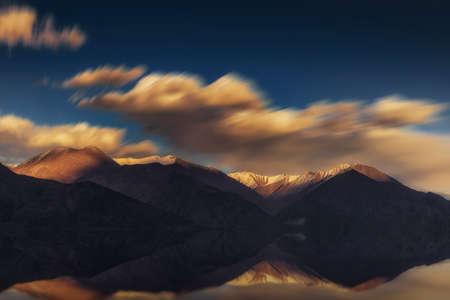 long lake: Long exposure and reflect of Pangong Lake Leh Ladakh ,India.