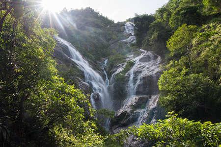 Pre To Lo Su or Pi Tu Kro waterfall (Heart-shaped waterfall) Umphang Tak ,Thailand. View from Ma Muang Sam Muen mountain.
