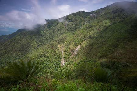 Pre To Lo Su or Pi Tu Kro waterfall (Heart-shaped waterfall) Umphang Tak ,Thailand. Stock Photo