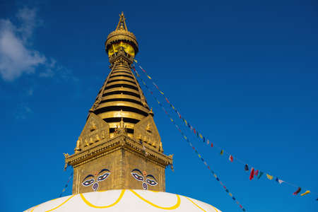 shree: Eyes of Buddha. Wisdom eyes of Buddha in Swayambhunath Stupa after the earthquake ,Kathmandu, Nepal. Stock Photo