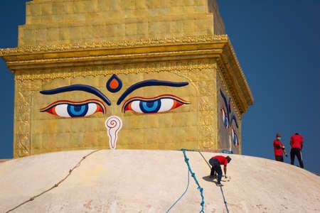 shree: Boudhanath stupa under reconstruction after the earthquake Kathmandu ,Nepal.