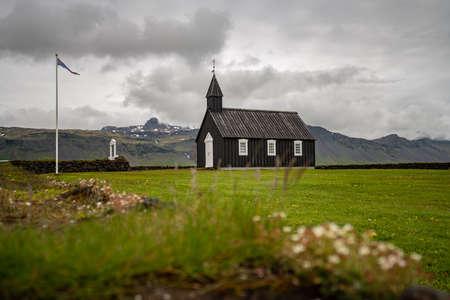 Black church of Budir at Snaefellsnes peninsula in Iceland.