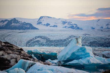 Icebergs in Jokulsarlon glacier lagoon. Vatnajokull National Park, Iceland Summer.Midnight Sun. Stock Photo
