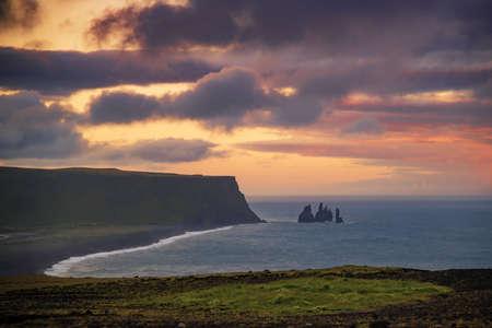 Basalt rock Reynisdrangar shot from Dyrholaey cliffs Vik ,Iceland.