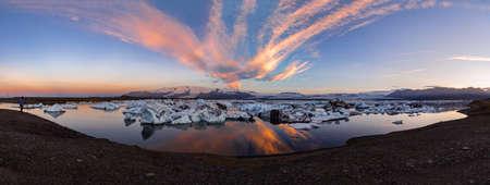 Panoramic view of Jokulsarlon glacier lagoon. Vatnajokull National Park, Iceland Summer.