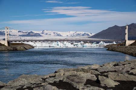 View of Jokulsarlon glacier lagoon. Vatnajokull National Park, Iceland Summer.