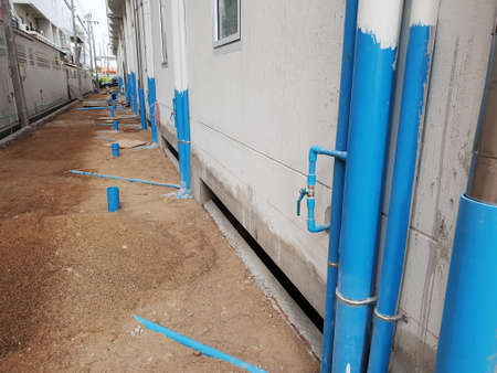 Installation water pipe for sewerage at hotel building ,Thailand.
