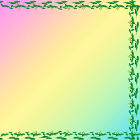 Leaf of frame on color background