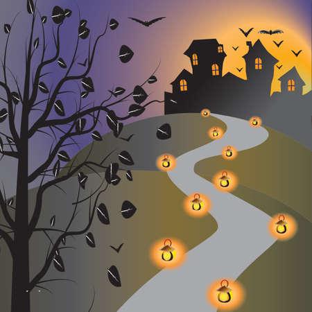 Halloween house on night Stock Photo - 15304399