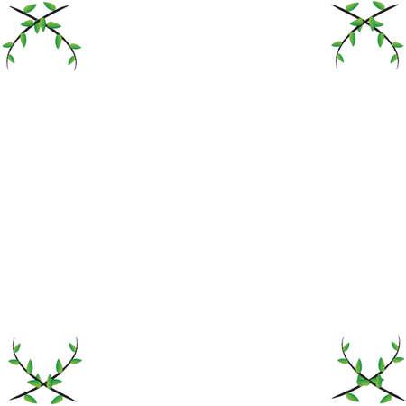 Leaf  frame on white background Stock Photo - 15304141