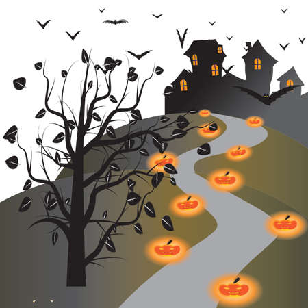 Halloween house on white background photo
