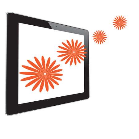 Flower of frame on tablet photo