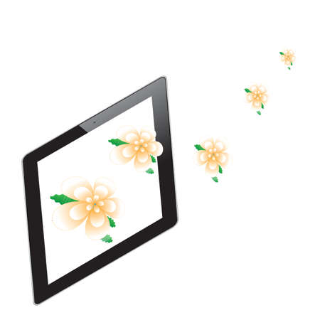 Flower of frame on tablet photo