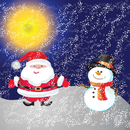 Snowman and santa of frame on christmas day photo
