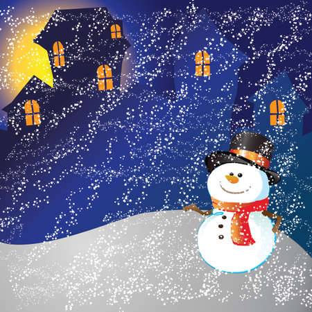 Snowman of frame on christmas day photo