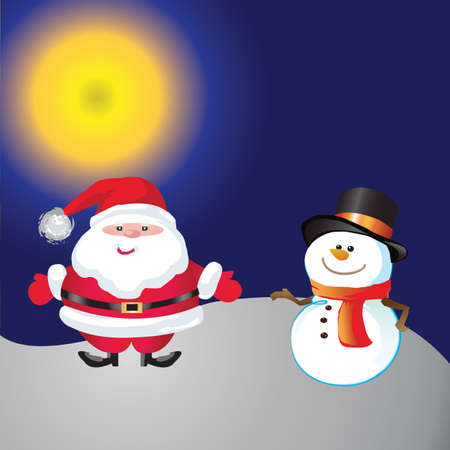 Snowman and santa of frame on christmas day photo