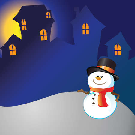Snowman of frame on christmas night background photo