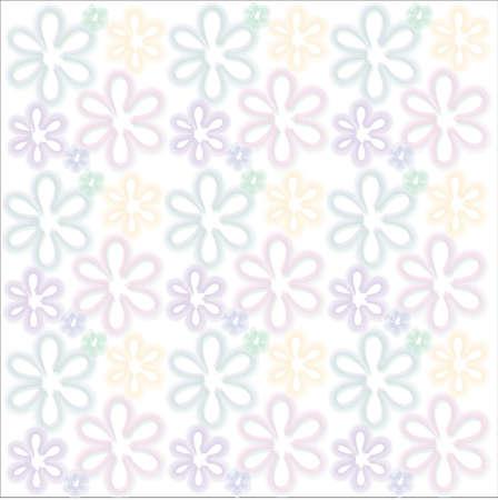 Flower background of frame on white background Vector