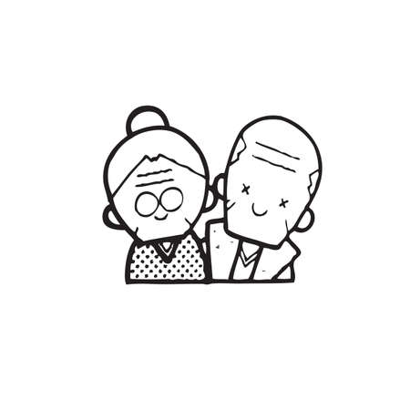 old people smiling: Happy old couple of frame on white background