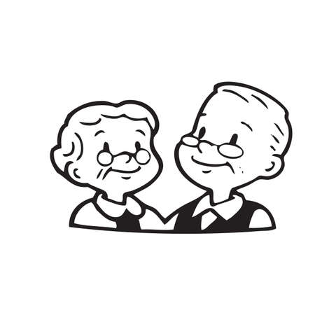 Bonne vieux couple de trame sur fond blanc