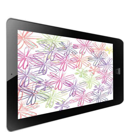 Flower of frame on white background in tablet Stock Photo - 17595600