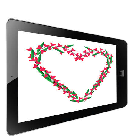 Heart of frame on white background in tablet Stock Photo - 17595539