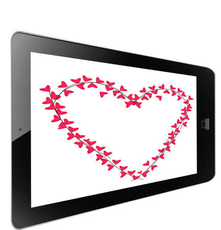 Heart of frame on white background in tablet photo