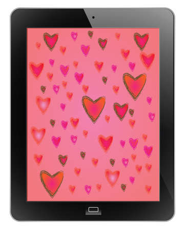 Heart of frame on tablet Vector