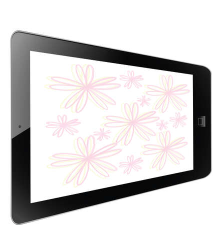 Flower of frame on white background in tablet photo