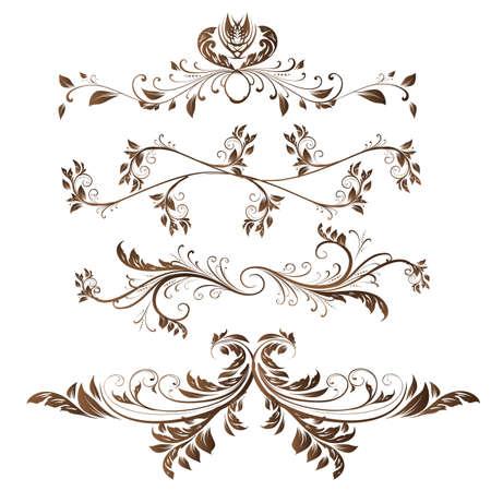 Vector set. Kalligrafische designelementen en pagina decoratie voor retro design.