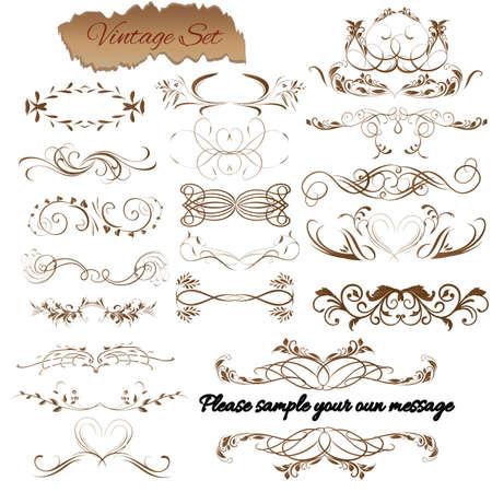 Vector set. Kalligrafische ontwerpelementen en pagina decoratie voor retro design.