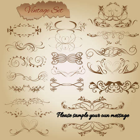 Vector set. Calligraphic design elements and page decoration for retro design.