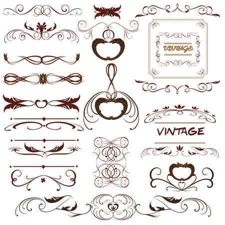 ベクトルを設定します。書道のデザイン要素とレトロなデザインのためのページの装飾。