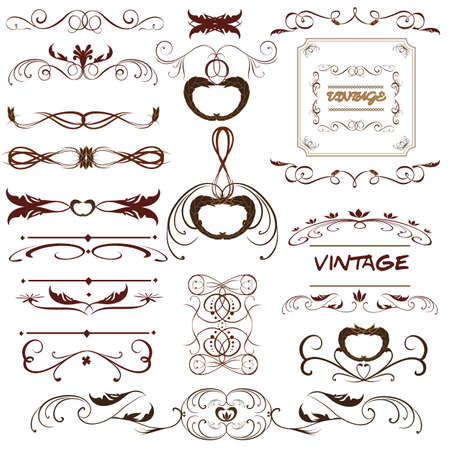 floral borders: Vector set. Calligraphic design elements and page decoration for retro design.