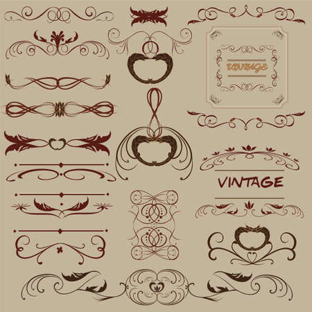 Vector set. Calligraphic design elements and page decoration for retro design. Vector