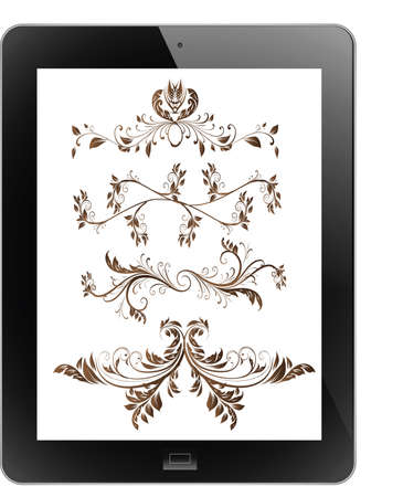 Vector vintage of frame on tablet Vector