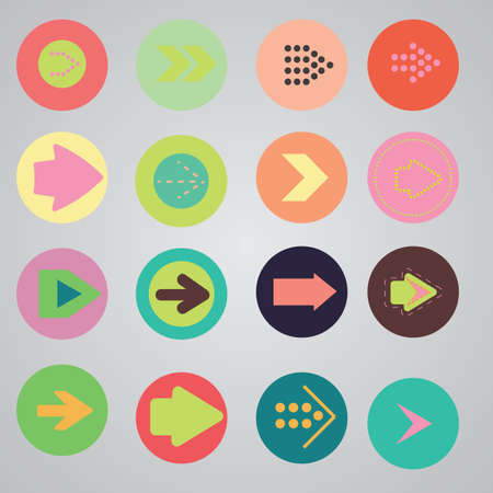 Arrow sign icon set. Simple circle shape internet button on gray background. Contemporary modern style. Vector