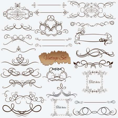 Ornate frames and scroll elements. Illustration