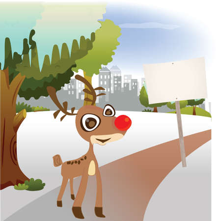 Reindeer stand on the park see the sign Vector
