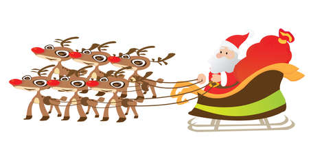 Santa and reindeer on white background Vector