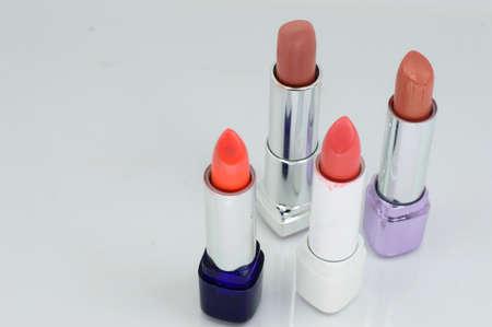 Beautiful lipsticks, isolated on white Stock Photo