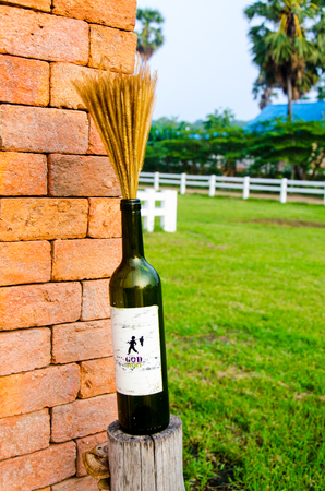 Wine with wheat on brick wall and green view yard photo