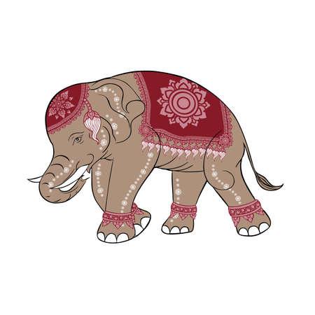 thai: elefante rosa Vettoriali