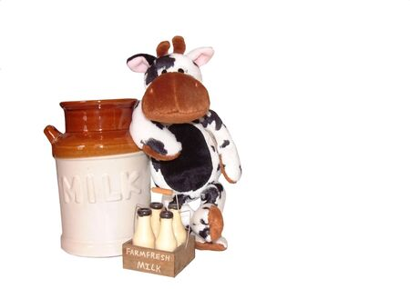 milkman: Milkman cow leans against milk canister Stock Photo
